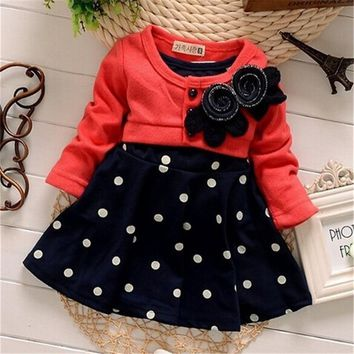 BibiCola baby Girls Dress Casual Kids Autumn Girl Clothes Polka Dots Dress Kids Clothes