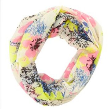 Floral Print Infinity Scarf by Charlotte Russe - Pink