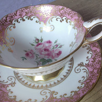 Antique pink tea cup set, vintage Royal Stafford English tea cup set, pink roses bone china tea set