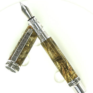 Custom Wooden Pen Beautiful Buckeye Burl Custom Fountain Pen with Western Emperor MPZ Rhodium and Black Titanium 795FPXLB