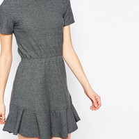 ASOS Skater Dress In Rib With Frill Hem