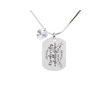 Inspirational Tag Necklace In AB Made With Crystals From Swarovski  - CREATIVITY