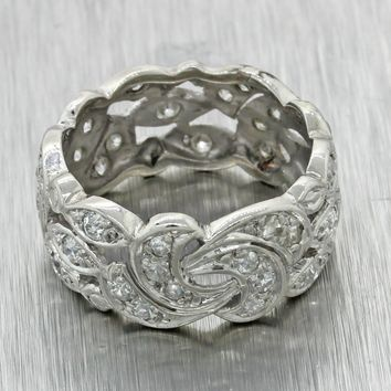 Antique Art Deco Platinum 9mm Wide 1.00ct Diamond Eternity Wedding Band Ring