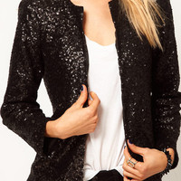 Shinny Sequins Blazer - Black