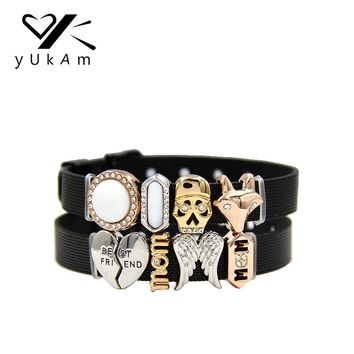 YUKAM Sliders Crystal Shell Bar Skull Head Fox Best Friend Mom Angel Wings Slide Charms Keeper for Mesh Bracelets Jewelry Making