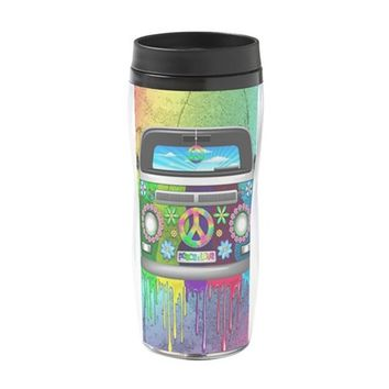 HIPPIE VAN DRIPPING RAINBOW PAINT 16 OZ TRAVEL MUG