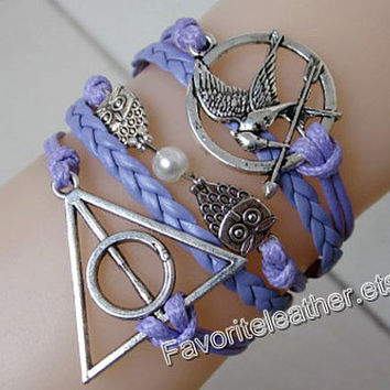 Mockingjay anklets, fire, purple leather bracelet Harry Potter, The Hunger Games Birds bracelet, owl leather bracelet