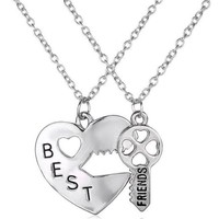 Best Friends BFF Vintage Puzzle Pendant Friendship Necklace