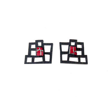Limited edition earrings, contemporary jewelry design, laser cut wood, colored polymer, sterling silver studs, original, handmade, gift idea