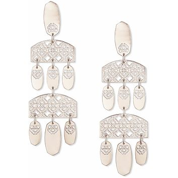 Kendra Scott Emmet Emmet Silver Statement Earrings In Silver Filigree