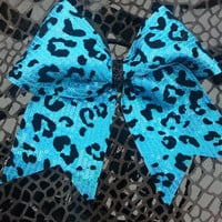 """Sequined 2 1/4"""" Turquoise Cheetah Cheer Bow"""