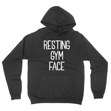 Resting gym face, funny workout, wrestling gift for her for him hoodie
