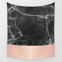 Black Marble and Pink  Wall Tapestry by Cafelab
