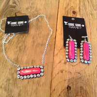 Pink & Silver Rectangle Necklace-Sookie Sookie