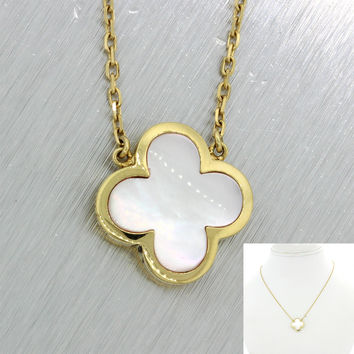 Van Cleef & Arpels Pure Alhambra 18k Yellow Gold Mother Of Pearl Necklace $3200