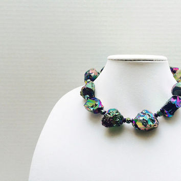 Geode necklace, Colorful necklace, peacock jewelry, chunky necklace, purple, green, blue, rough geodes, stone necklacepurple