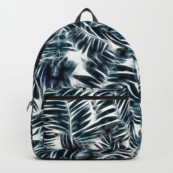 Neon Palm Leafs Pattern, dark green, blue tones tropical nature theme, sunny beach design Backpacks by Casemiro Arts - Peter Reiss