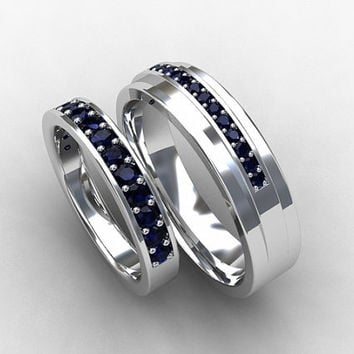Blue sapphire wedding band set, wedding ring, sapphire, micro pave, sapphire eternity, white gold, mens wedding band