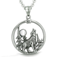 Howling Wolf Moon Forces of Nature Positive Protection Powers White Cats Eye Pendant 18 Inch Necklace