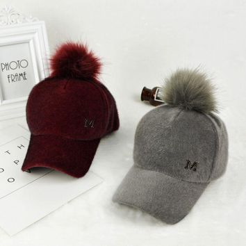 Winter Women Thick Plush Fleece Felt Baseball Caps Adjustable Fitted Faux Fur Pom poms Snapback Hat Casquette Gorras