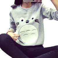 My Neighbor Totoro Face Print Long Sleeve Pullover Sweatshirt Sweater for Women