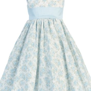 Light Blue Floral Print Cotton Dress w. Shantung Trim V-Back 3M to Girls 10