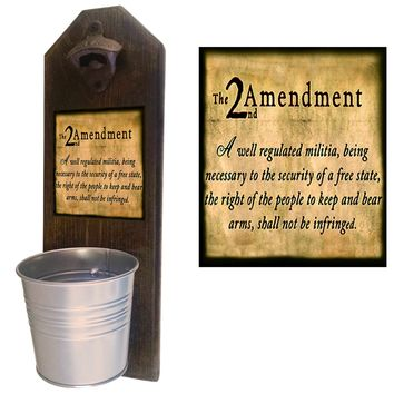 2nd Amendment Bottle Opener and Cap Catcher, Wall Mounted
