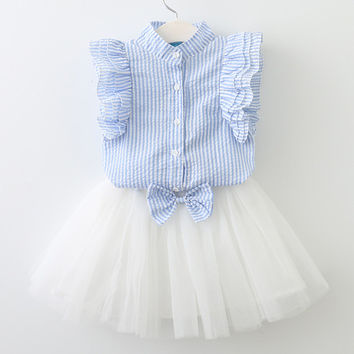 Sleeveless Lace Top & Mesh Ball Dress Summer Outfit for Toddler Girls