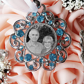 Something Blue Wedding Bouquet Photo Charm Blue Rhinestone Bridal Bouquet Memory Charm,Wedding Accessories Bouquet Charm, Bridal Keepsake