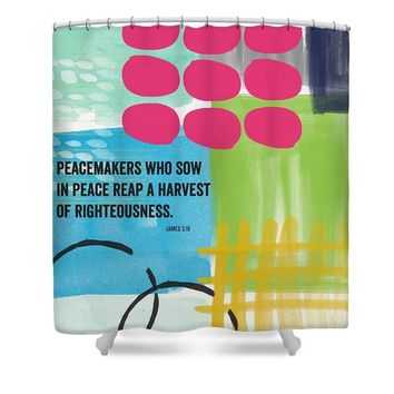 Sow In Peace- Contemporary Christian Art by Linda Woods Shower Curtain