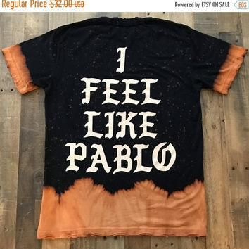Rare I Feel Like Pablo Feel Like Ye Bleached Distressed Tee Shirt / Yeezy Tour Merch T