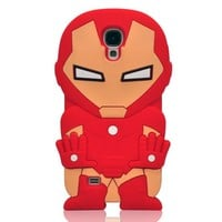 Oneshow the Avengers Series 3D Red Cool Iron Man Silicone Case Cover Design Compatible for Samsung Galaxy SIV S4 I9500
