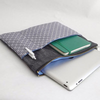 Tablet case, I pad case, I pad sleeve, japanese fabric, Geometric, denim