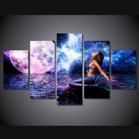 Mermaid and Moon 5pc Canvas