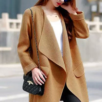 Khaki Knitted Long Sleeve Midi Cardigan