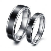 JewelryWe Men's 6mm Stainless Steel Ring Silver Black Valentine Love Couples Promise Engagement Wedding Band (His Size 8.5)