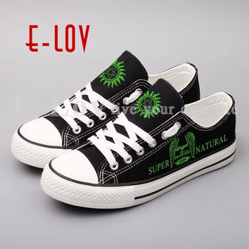 Supernatural American Fierce Ghost Canvas Graffiti Shoes Fashion Women Printed Winchester Casual shoes Lace-Up Girls Lovers Shoe