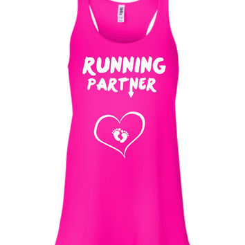 RUNNING PARTNER with baby feet heart Pregnant  Flowy Tank Top Workout Gym Running Fitness Yoga Exercise Hike Hiking Running Sweating So CUTE