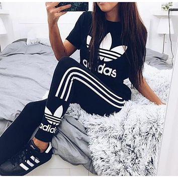 "Women Fashion ""Adidas"" Print Stretch Exercise Fitness Pants Trousers Leggings Sweatpants Shirt Top Tee"