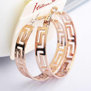Italina Big Round Hoop Earrings for women Bohemia Hollow out Rose Gold Earring vintage wedding Jewelry brincos Pending Mujer