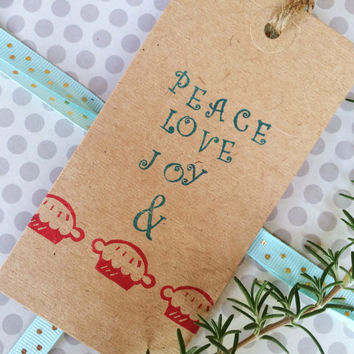 Holiday Gift Tags - Gift Tags - Peace Love Joy Gift Tags - Hanging Gift Tags - Funny Gift Tags - Merry Christmas Gift Tags - Large Gift Tag