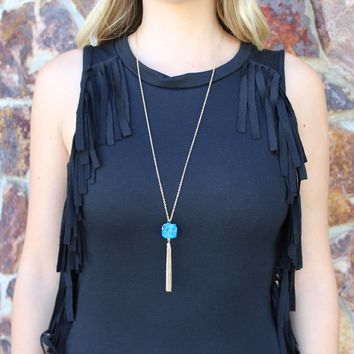 Teal Stone Pendant with Gold Fringe