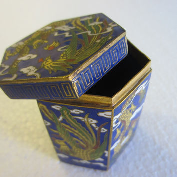 Asian Miniature Cloisonne Hexagon Box Yellow Phoenix Dragons