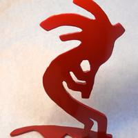 Red Metal Kokopelli Silhouette Sculpture, God of Fertility and Love, Southwestern Art, Fireplace Ornament