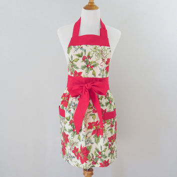 Christmas Holly Poinsettia Apron, Womens Holiday, Red Floral.  Vintage Style, Full Coverage, Christmas Gift Mom, Wife, Sister, Girlfriend