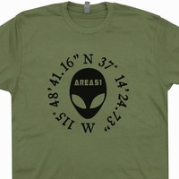 Area 51 Coordinates T Shirt Alien Head Tee Shirt UFO Tees