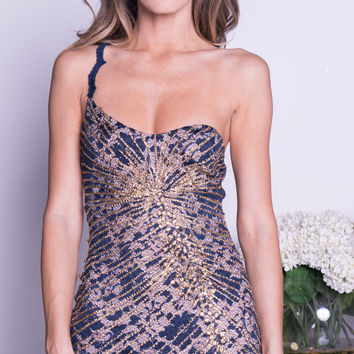 LIDDY LACE DRESS IN NAVY WITH GOLD