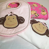 Baby Girl Sock Monkey Gift Set - Girl Burp Cloth Set -Baby Girl Bodysuit - Sock Monkey Bib