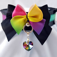 Black Rainbow Pleated Kitten/Pet Play DDLG BDSM Collar