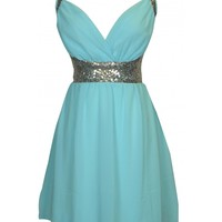 Mint Sequin Crossback Dress